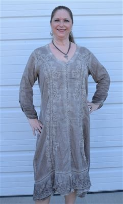 Western style Gretty Zueger Taupe Long Duster Dress Peruvian cotton is richly embroidered and detailed with English netting lace to create a stunning duster or dress Made of 100% Peruvian cotton. 664 Plus size. Available in women's sizes 1X, 2X, or 3X