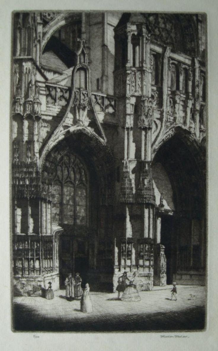"""Herbert Gordon Warlow etching, """"Notre Dame de Caudebec"""""""