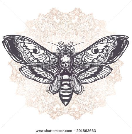 geometric mandala moth pyramid skull - Google Search