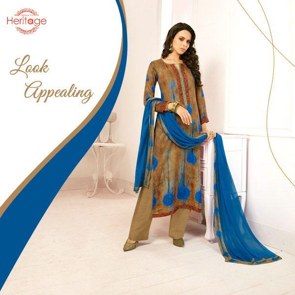 Light Brown And Blue Printed Georgette Unstitched Salwar Kameez