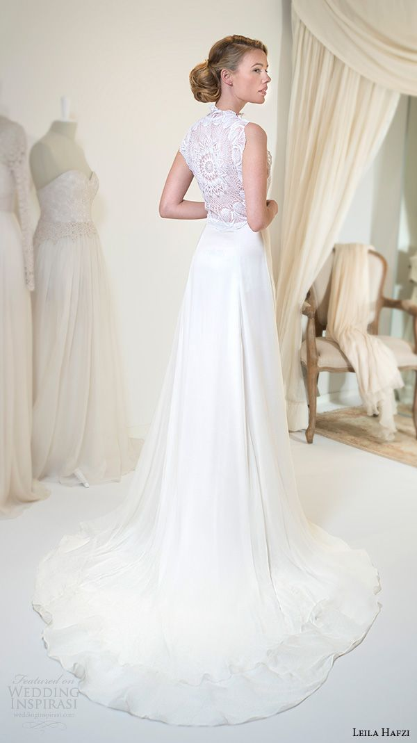 """Leila Hafzi 2016 Wedding Dresses — Royaye Sefid VI """"Asha"""" Bridal Collection   Wedding Inspirasi   """"Sahasa"""" -- Sleeveless Bridal Gown Which Features A Lace Bodice With An Elegant, High Neckline & Slim A-Line Skirt With Chapel Train (Back View)·····"""