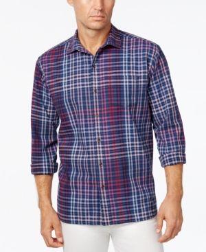 Tommy Bahama Men's Rum Island Plaid Long-Sleeve Shirt  - Purple S