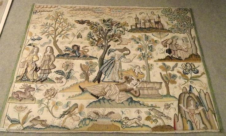 Needlework imagen de Píramo y Tisbe, Inglaterra, 1650-1675, el satén de seda - Patricia Harris Gallery of Textiles y Vestuario, Royal Ontario Museum ♥