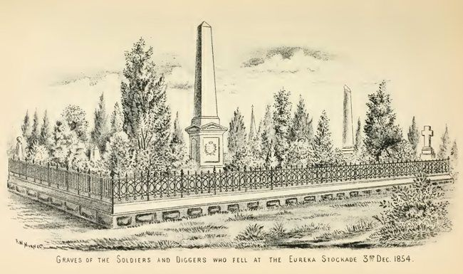 Graves of the Soldiers and Diggers who fell at the Eureka Stockade 3rd Dec. 1854.