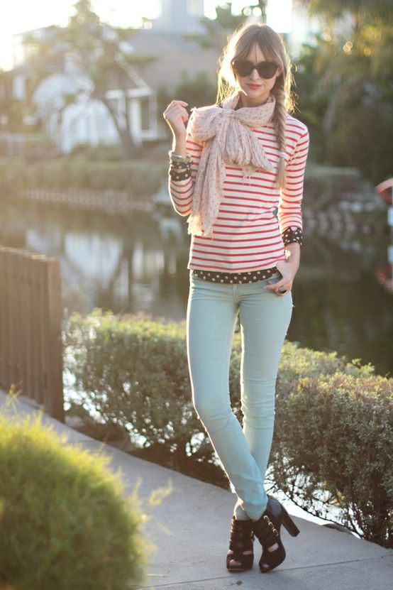 Scarf tied into bow, striped top and mint jeans