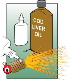 While anglers can choose from a wide variety of commercial scent products, there's another alternative that works almost as well.  Fill an empty nasal-spray bottle with plain cod liver oil. Squeeze a drop of oil to the tip of the bottle, rub your lure in it and you're ready to fish.  This works especially well with marabou and bucktail jigs, and can sometimes make the difference between lots of bites and none at all.