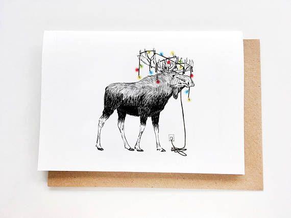 Christmas Card  Moose  Birthday Card Just Because Card