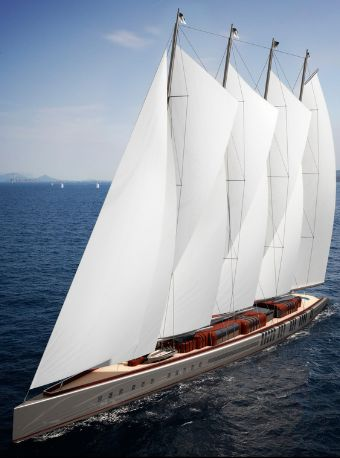 "Sail Yacht Dream Symphony  Dream Symphony is a gaff schooner sail 141.00m (462'7""ft) that will be built by Dream Ship Victory and is due for launch in 2015. Ken Freivokh Design is responsible for her beautiful exterior and interior design.  Schedule launch: 2015"