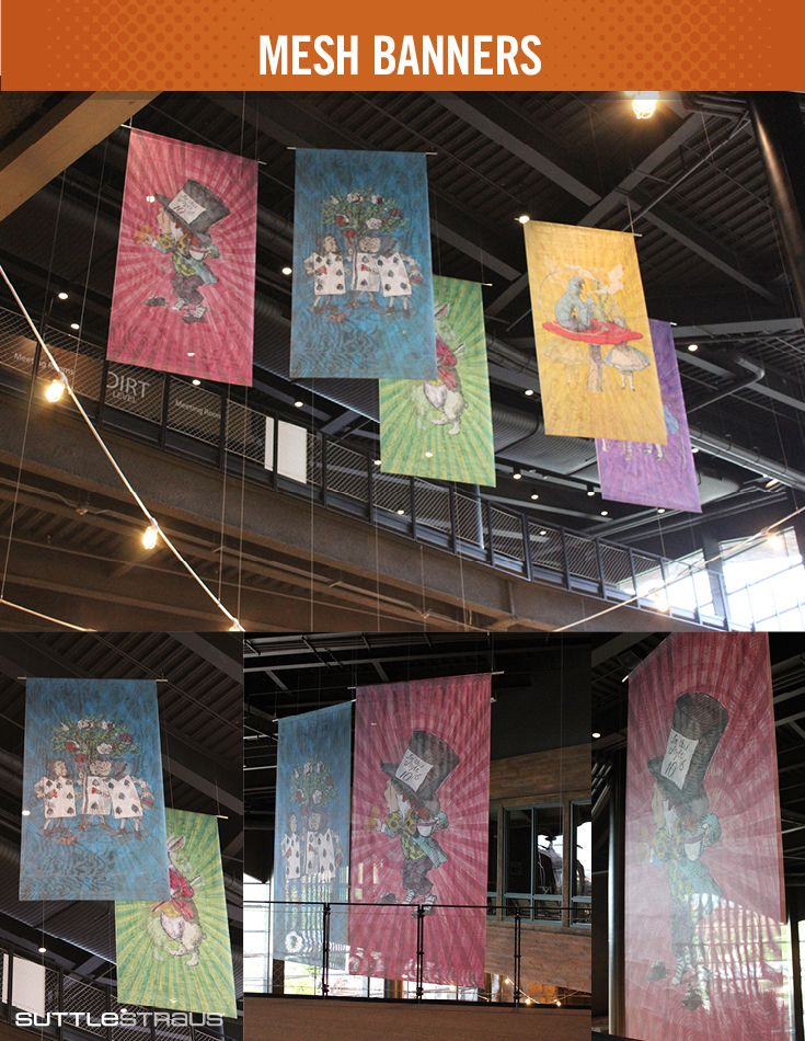 """Check out these cool mesh banners. They were printed to a size measuring 78"""" x 312"""", then folded in half to 156"""" and sewn with pole pockets. These are a great alternative to traditional solid banners that can appear heavy. The mesh banners help brighten up a space, leaving it feeling light and airy."""