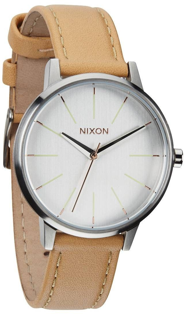 Leather Watch | Nixon The Kensington Leather Watch - Natural/Silver | KJ Beckett