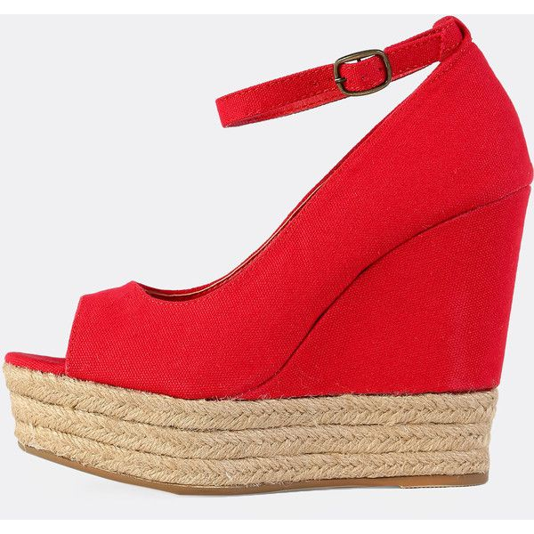 SheIn(sheinside) Peep Toe Espadrilles Wedges RED (1,700 PHP) ❤ liked on Polyvore featuring shoes, sandals, red, high heel wedge sandals, flatform wedge sandals, espadrille wedge sandals, red sandals and flatform sandals