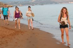 Volunteers walking the beach looking for sea turtle tracks   | check it out at wildlifesense.com