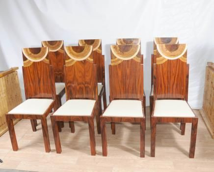 Good Set Art Deco Dining Chairs Inlay Chair 1920s Furniture