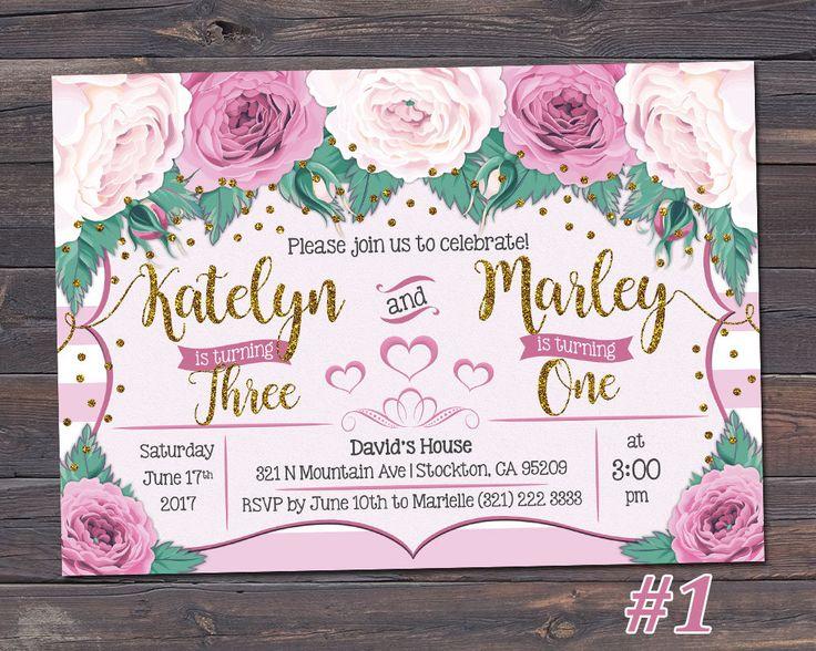 Joint Birthday Invitation / Twins Birthday Invitation / Sibling Birthday Invitation / Floral Girl Birthday Invitation / ANY AGE / by TheFUNtasticDesign on Etsy
