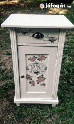 Éjjeliszekrény, Rózsás, kézzel festett, Shabby Chic