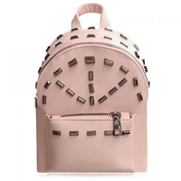 Preppy Style Rivets and PU Leather Design Backpack For Women #shoes, #jewelry, #women, #men, #hats, #watches