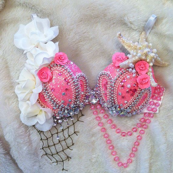 Neon Pink Mermaid Rave Bra  MADE TO ORDER by TheLoveShackk on Etsy