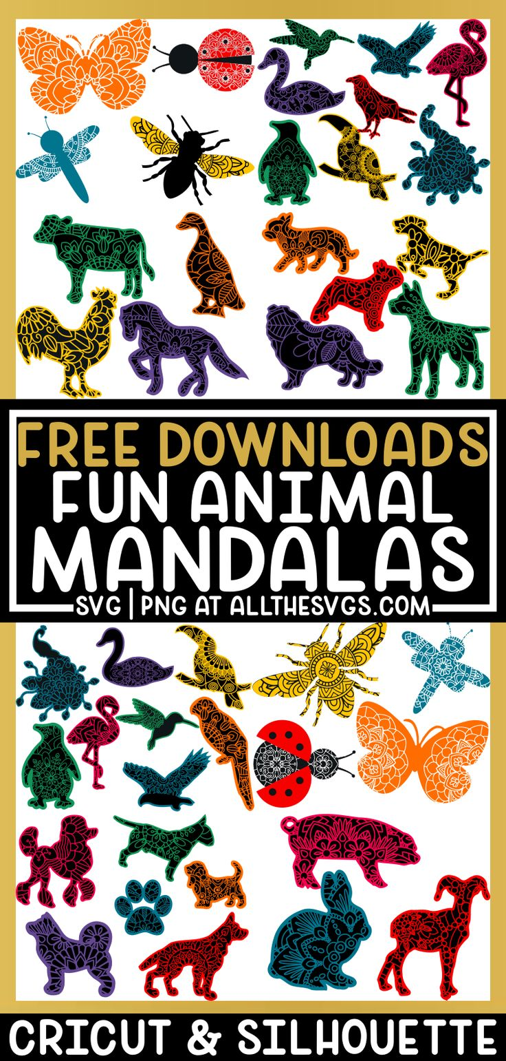 free animal mandala svg files cricut, silhouette dog
