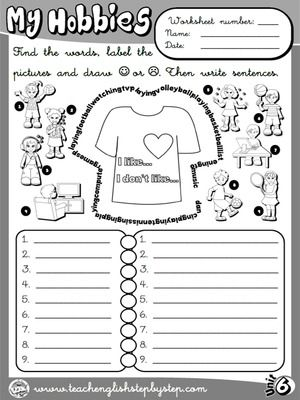 hobbies likes and dislikes worksheet 1 b w version funtastic english 2 2nd graders. Black Bedroom Furniture Sets. Home Design Ideas