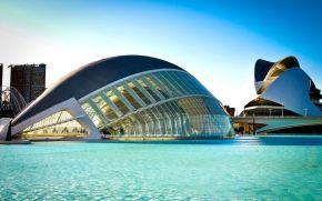 Город Искусств и Наук, архитектура, Испания, голубая, город, река, Валенсия, вода, здание, мост