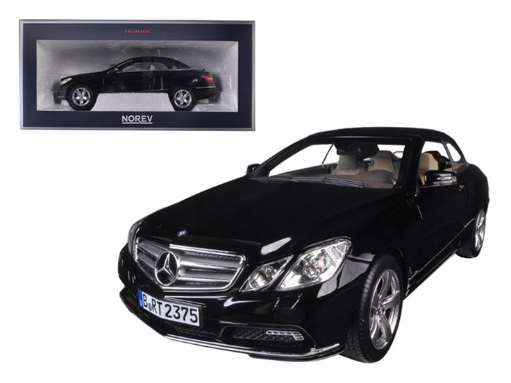 2010 Mercedes E Class E500 Cabriolet Black with Cream Interior 1/18 Diecast Model Car by Norev - Brand new 1:18 scale diecast car model of 2010 Mercedes E Class E500 Cabriolet Black with Cream Interior die cast car model by Norev. Brand new box. Rubber tires. Has steerable wheels. Made of diecast metal. Detailed interior, exterior. Has opening hood, doors and trunk. Dimensions approximately L-10.5, W-4.5, H-3.25 inches.-Weight: 4. Height: 8. Width: 15. Box Weight: 4. Box Width: 15. Box…