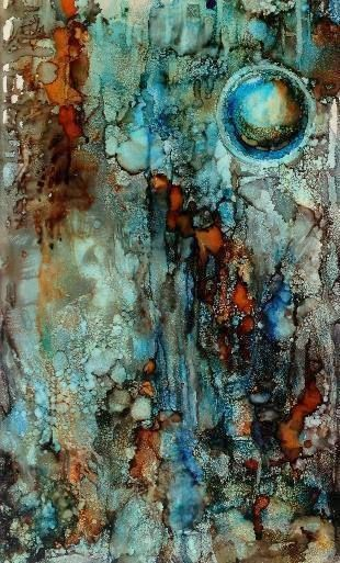 "Abstract Artists International: ""Orb I"" Original Alcohol Ink Contemporary Abstract Cosmos, Geologic Abstract Painting by New Orleans Artist Lou Jordan"