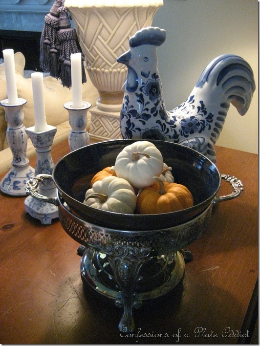 Tarnished Chaffing Dish Inset With Blue Pottery Bowl And A