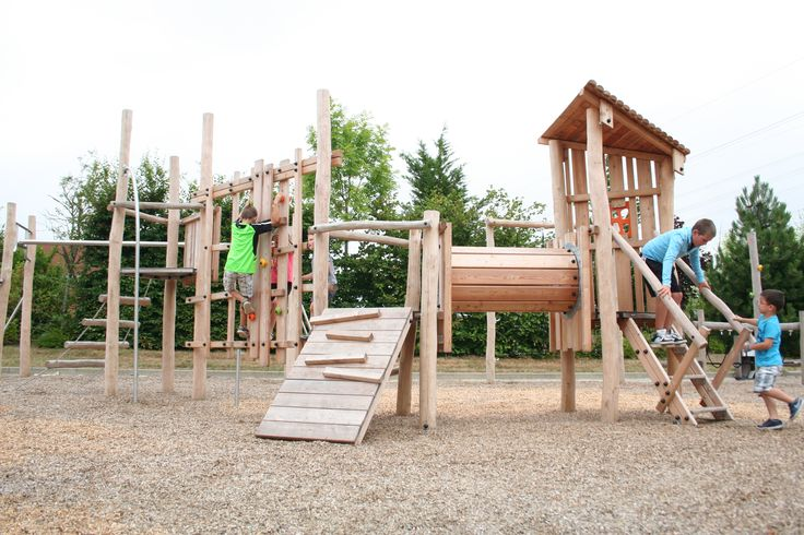 Origin play equipment allows children to play and interact with the natural environment.