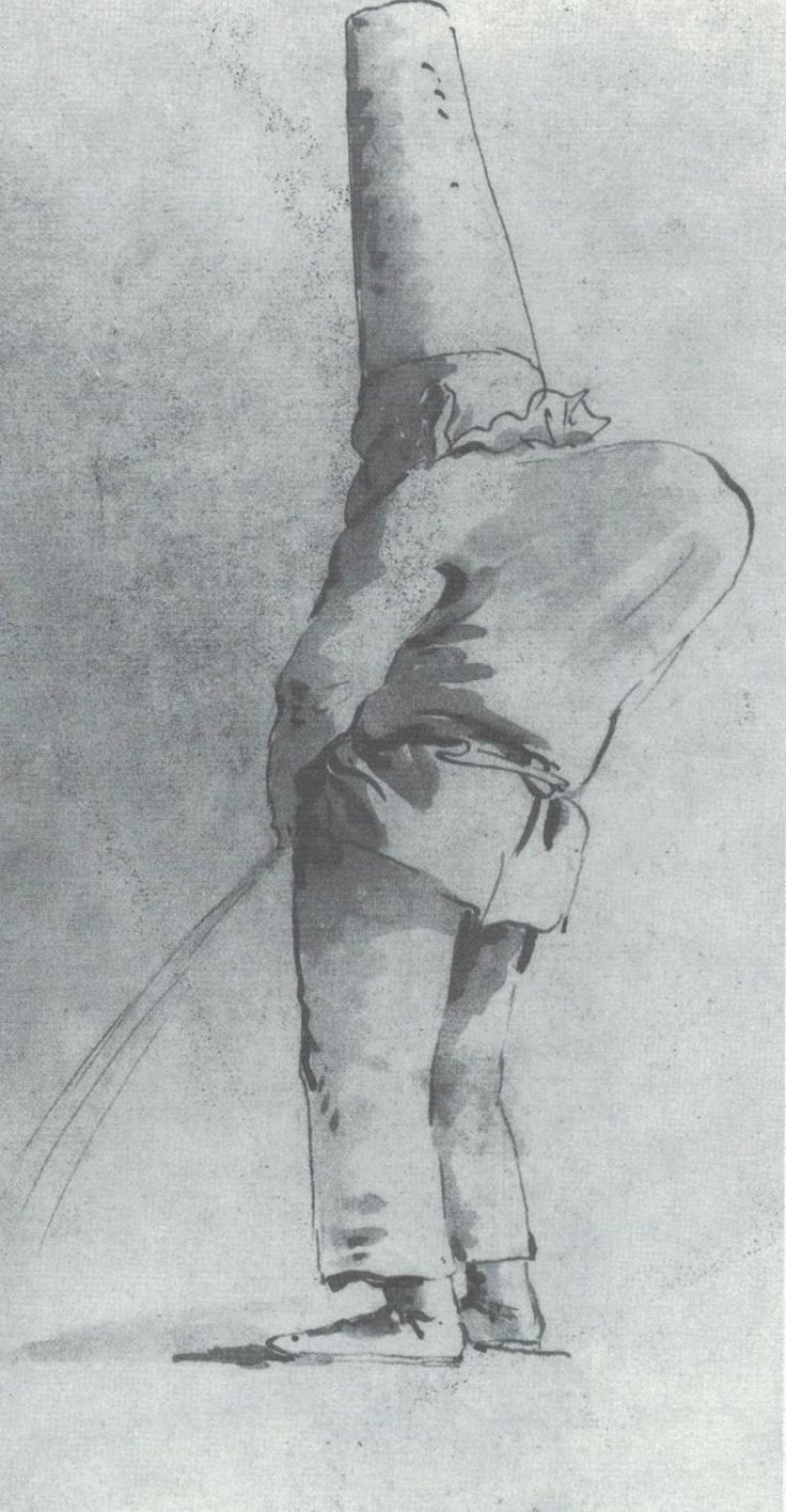 Pulcinella che orina, disegno   Giambattista Tiepolo - già Gallerie Cailleux, Parigi.