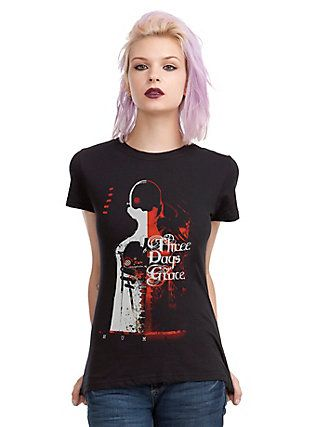 Three Days Grace Human Cover Girls T-Shirt, BLACK