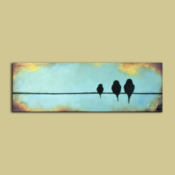Mothers Day Birds on a Wire Painting..8 x por CedarandSageArt