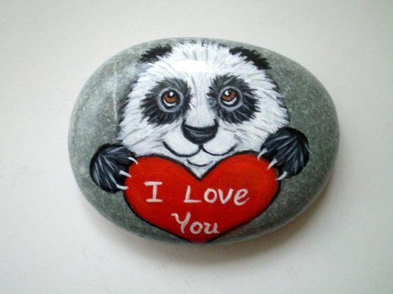 I love you  Valentine Panda Painted Rock by ShebboDesign on Etsy, $26.00