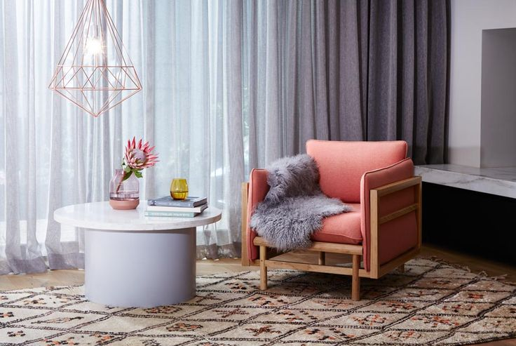 Ryder Armchair Solid American Oak Frame / Coral Cashmere Upholstery Finish  Sphere Coffee Table Grey/ Marble  Diamond Pendant Copper - Styling and Art Direction by Moore Concepts and Greenhouse Interiors  Photography by Armelle Habib /// Beni Ourain rug from Halcyon Lake. Mongolian sheepskin from Norsu Interiors. Muuto vase from Huset