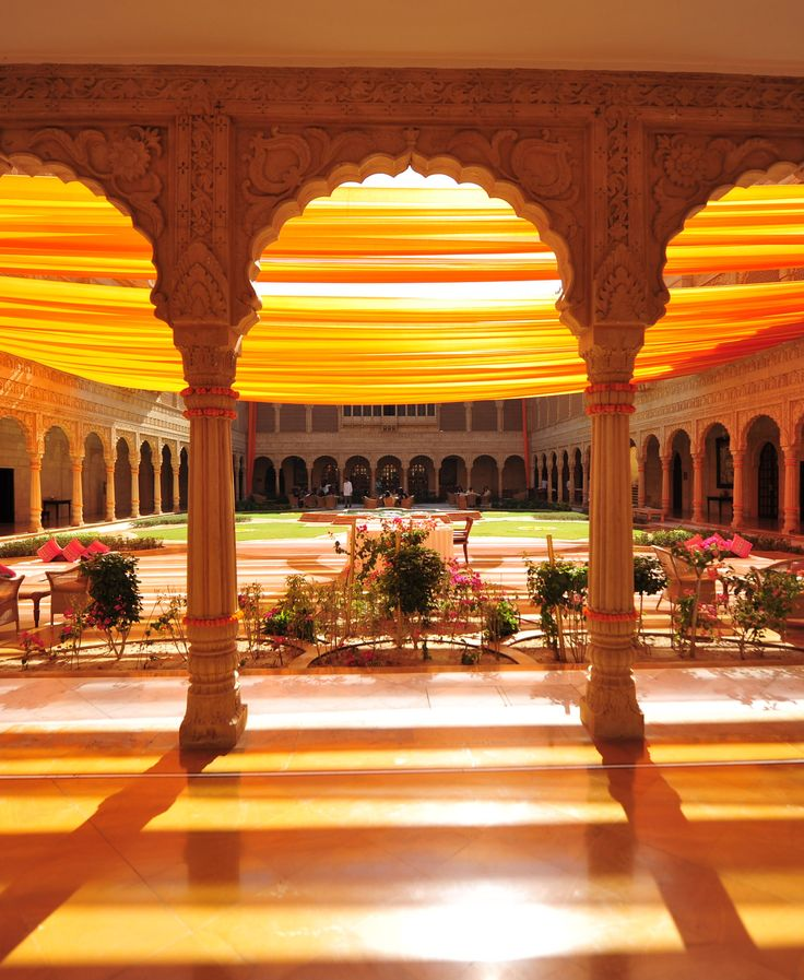 We decorated the Suryagarh hotel with marigold flowers and orange safas, the fabric used in Rajasthani turbans.  Here, they let in the sunlight so beautifully.