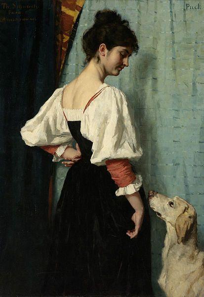 """Therese Schwartze: """"Staande jonge Italiaanse vrouw, neerkijkend naar de hond Puck"""", between 1879 and1885,  oil on canvas, Dimensions: drager Height: 144 cm (56.7 in) drager Width: 103 cm (40.6 in), Current location: Rijksmuseum Amsterdam."""