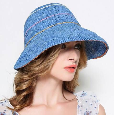 Flower crimping straw hats for ladies in summer crimping bucket hats