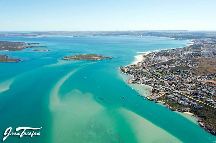 Langebaan town on the east bank of the Lagoon with Schaapen Eiland just offshore and Saldanha Bay visible in the background