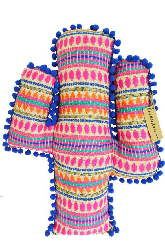 Cactus bright blue pom pom cushion