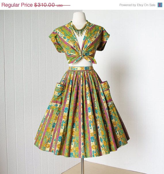 a shop favorite!    -1950s alex colman cotton batik print 2 piece skirt and top ...print is so much better in person! more rich and saturated.