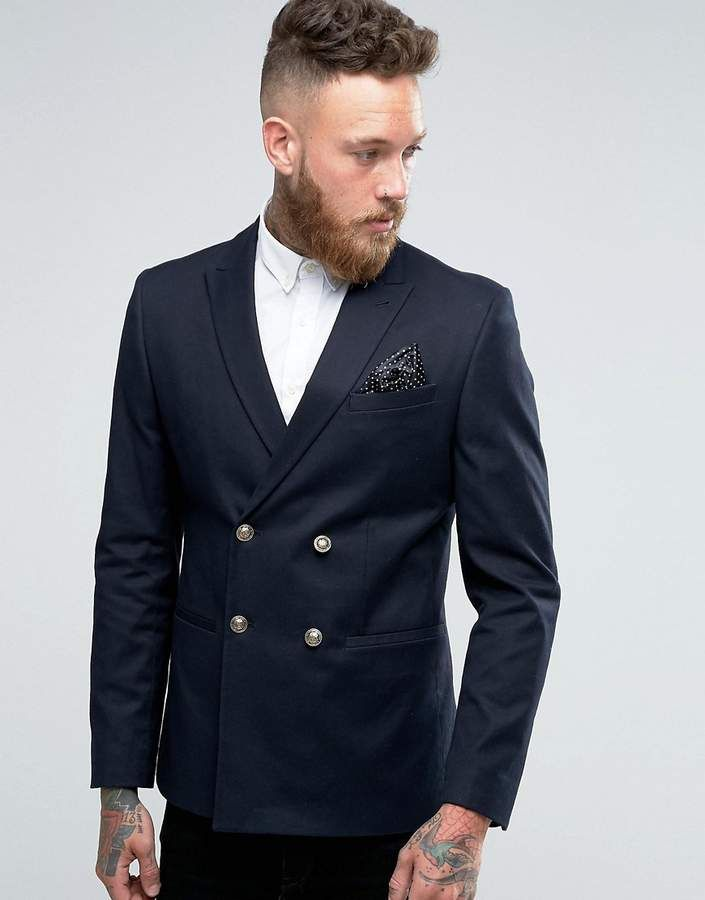 8e6434da2 ASOS Skinny Double Breasted Blazer In Navy with Gold Buttons for men ...