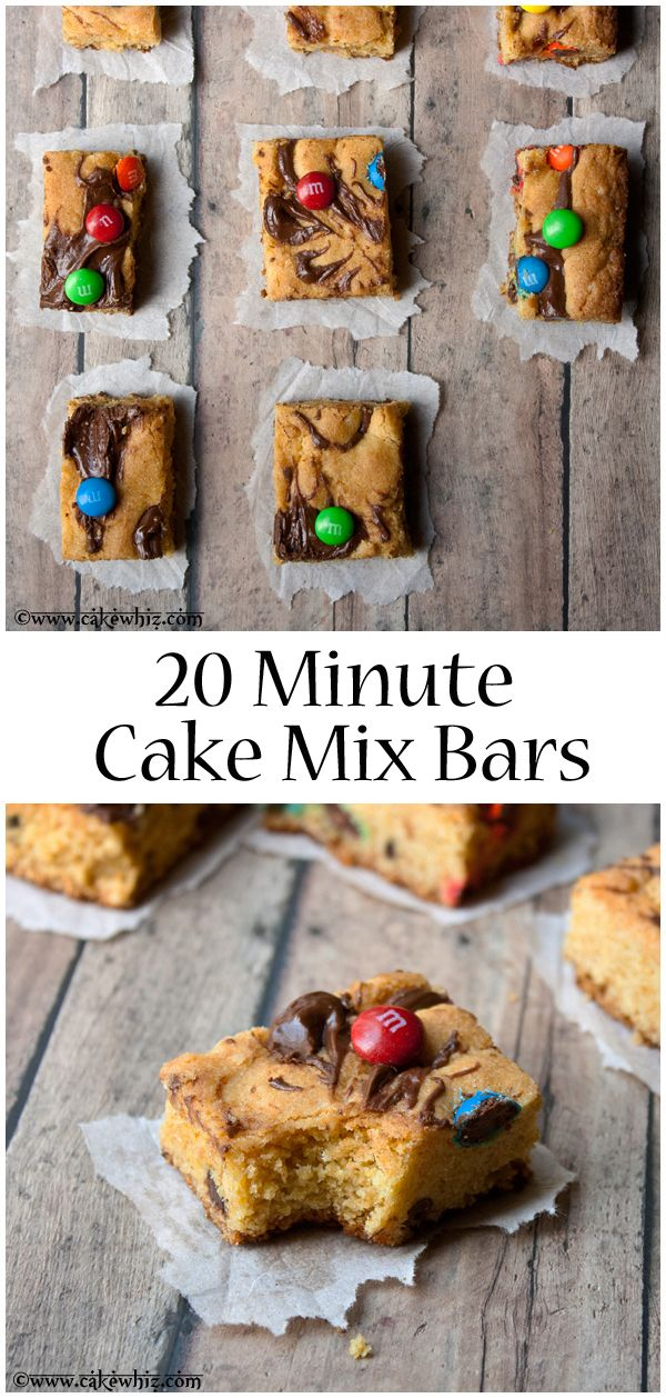 LOADED BARS made with a cake mix and  packed with peanut butter, Nutella, dark chocolate, white chocolate and m&m candies. Ready in ONLY 20 minutes! From cakewhiz.com