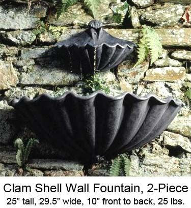 Two Piere Outdoor Hanging Water Feature: Ladybug/CPI: Clam Shell Wall  Fountain,