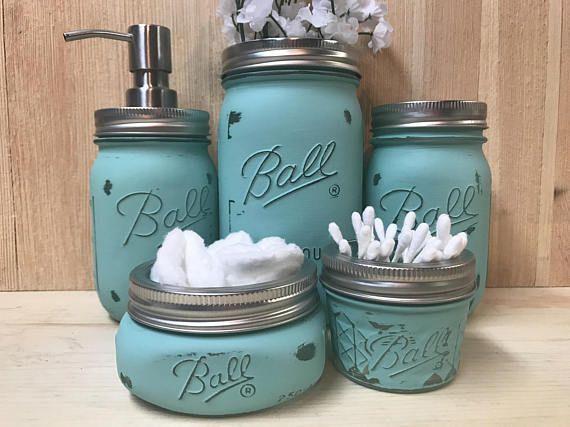 5pc Teal Distressed Mason Jar Bathroom Set Teal Aqua Bathroom