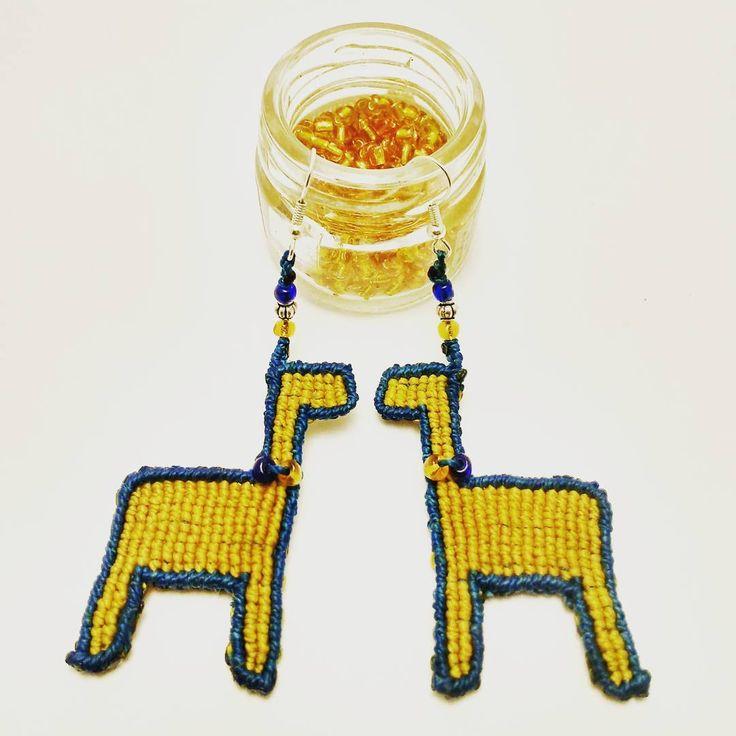 Llama earrings sold today  #macrameearrings #llama #llamaslove #handmadegifts #handcrafted #originaldesign #macrame #supportthemakers #sanpedrodeatacama #desertstyle #blueandyellow