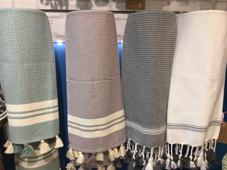 Hand Towels in four different colours. Get yours  in our shop in St Nicholas Market, Bristol UK, or  online visiting our Etsy shop. #handtowel #handwoven #turkishtowels  #bathroom #filblanc  #giftideas #towels #stnicholasmarket
