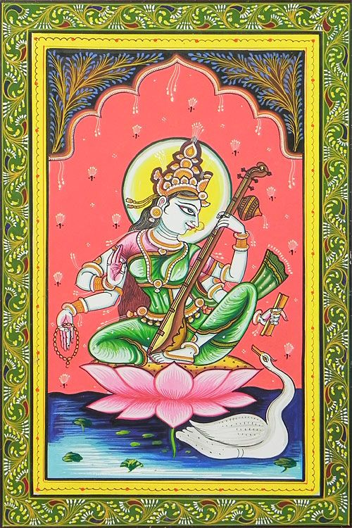 Saraswati- Goddess of Music and Knowledge (Orissa Paata Painting on Canvas - Unframed))