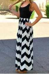 Bohemian Scoop Neck Sleeveless Wavy Dress For Women