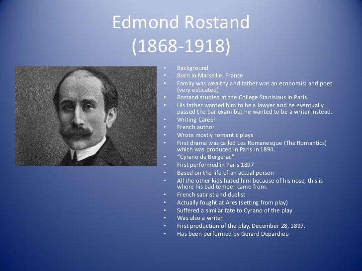 Dnes si pripomíname 98 rokov od úmrtia francúzskeho dramatika EDMONDA ROSTANDA, autorA známej hry Cyrano de Bergerac