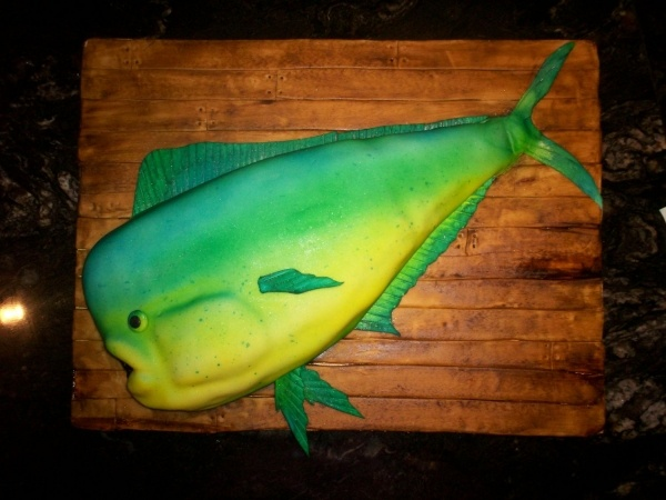 Dolphin Fish Groom's Cake by ellenhill on Cake Central