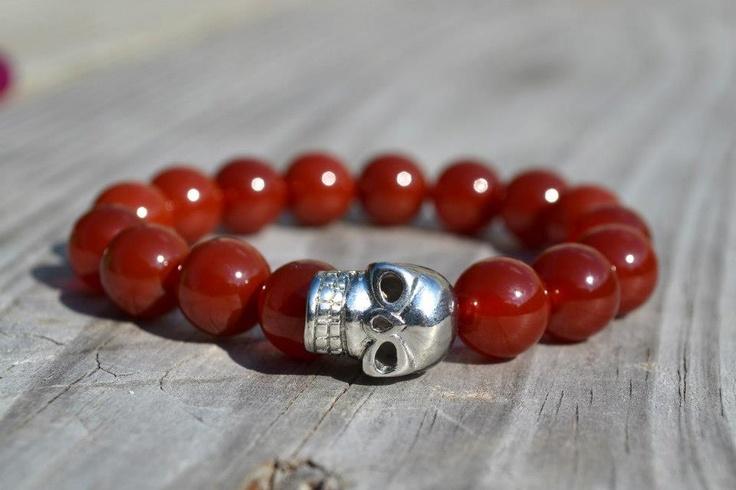 Perlas de Ágata Rojo  Calavera Plateada